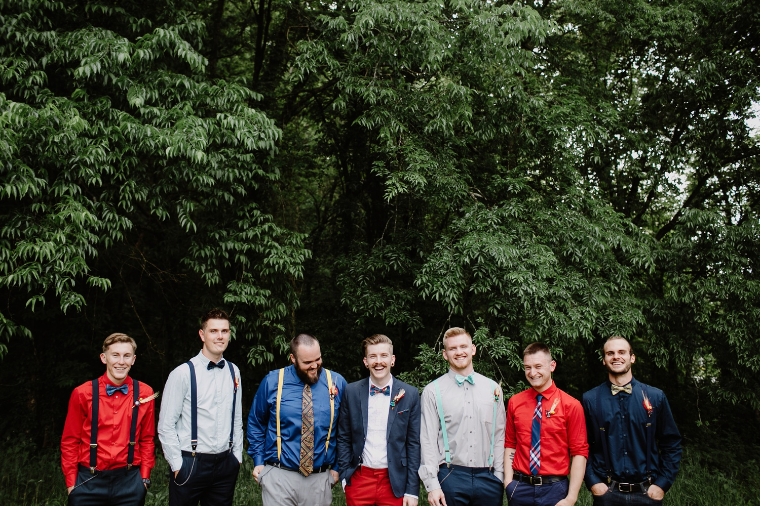 groomsmen with lego superhero boutonnieres