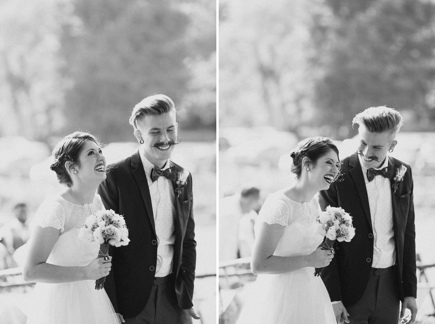 bride and groom laughing during ceremony in nashville tn