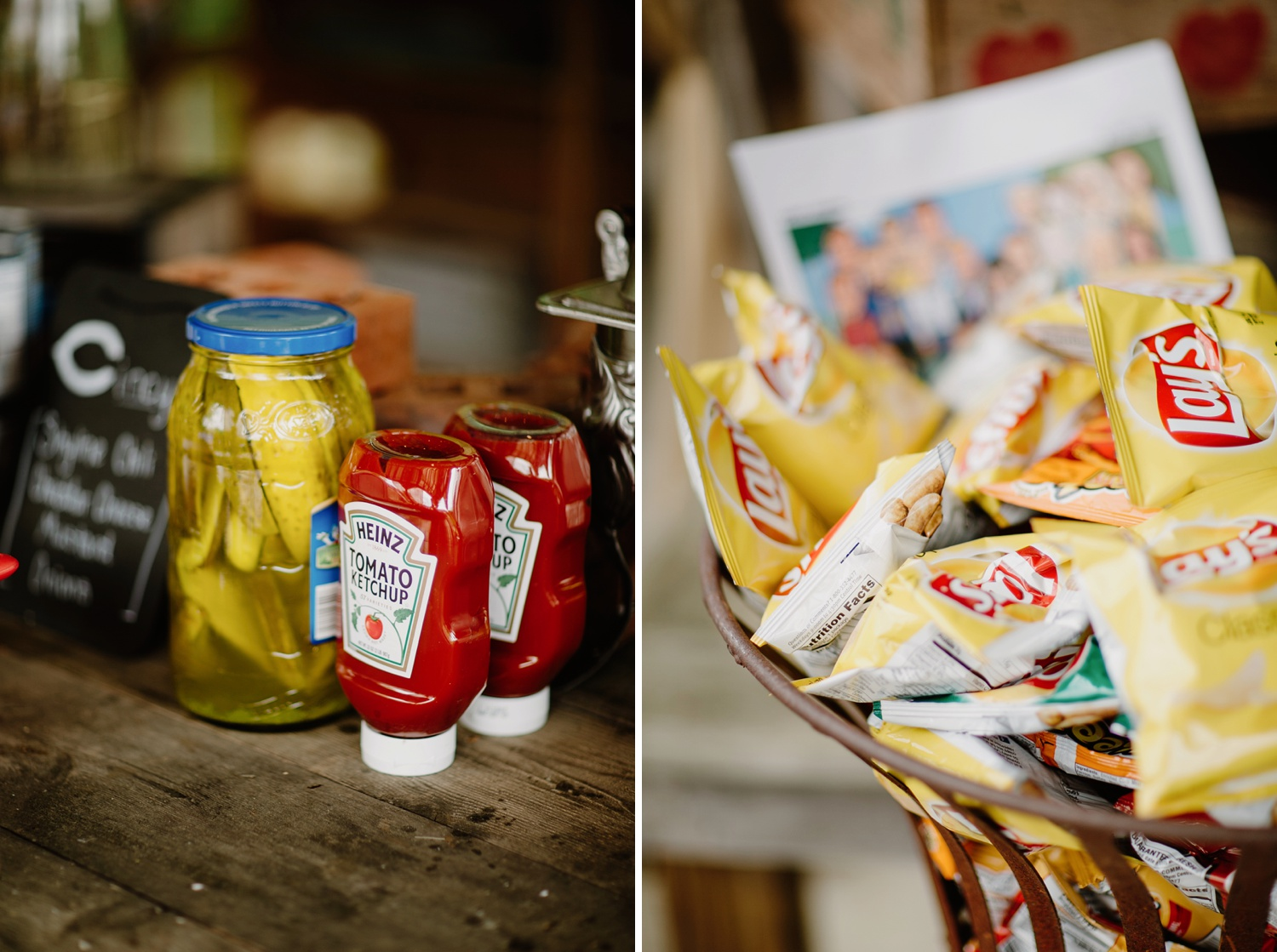 condiments and chips for nashville wedding reception