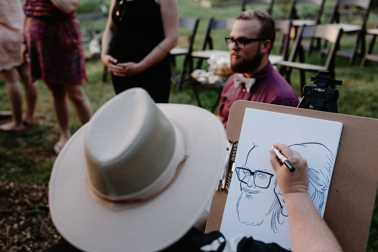 caricature artist at nashville tn wedding reception