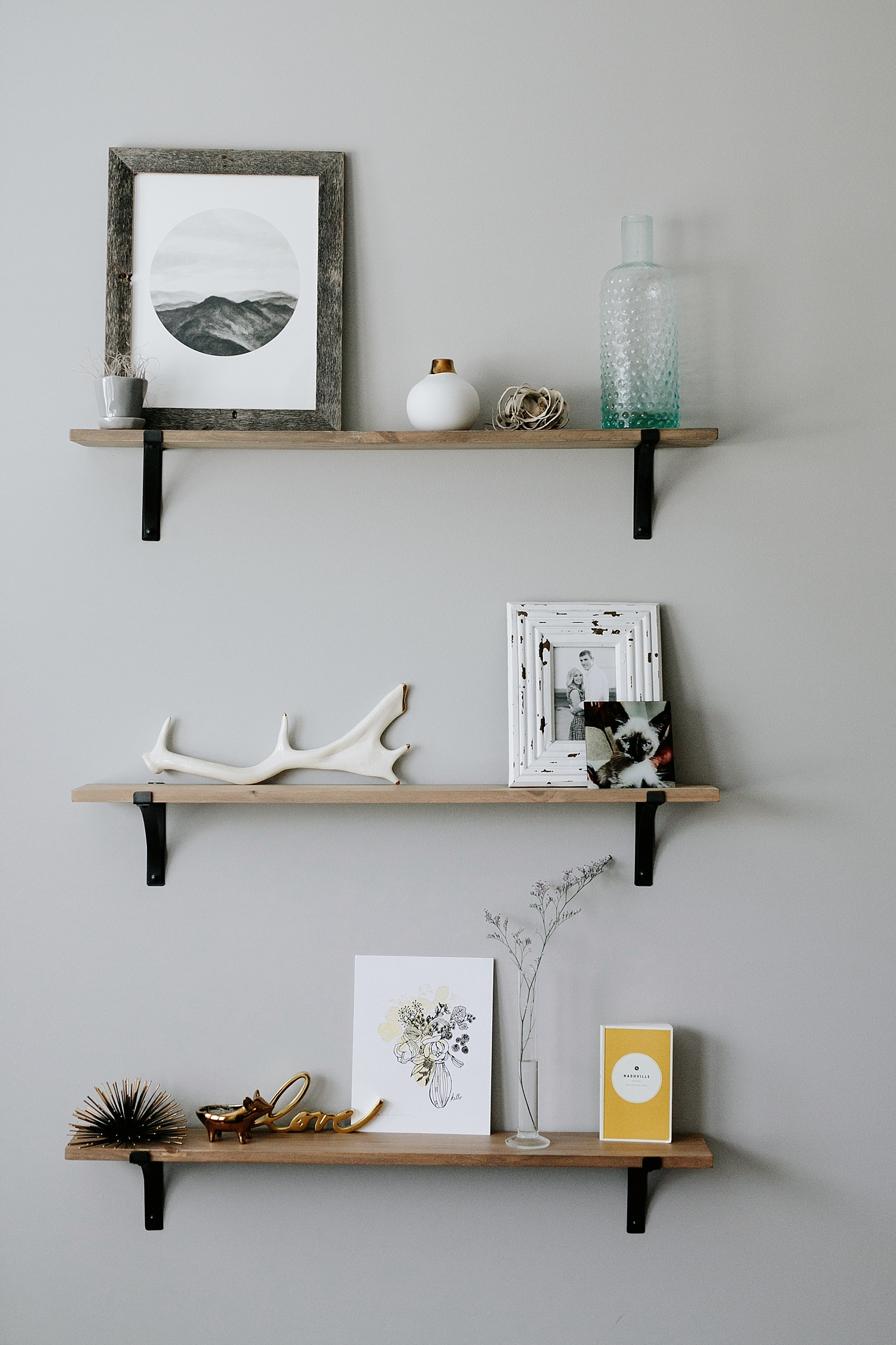 decorated shelf in home
