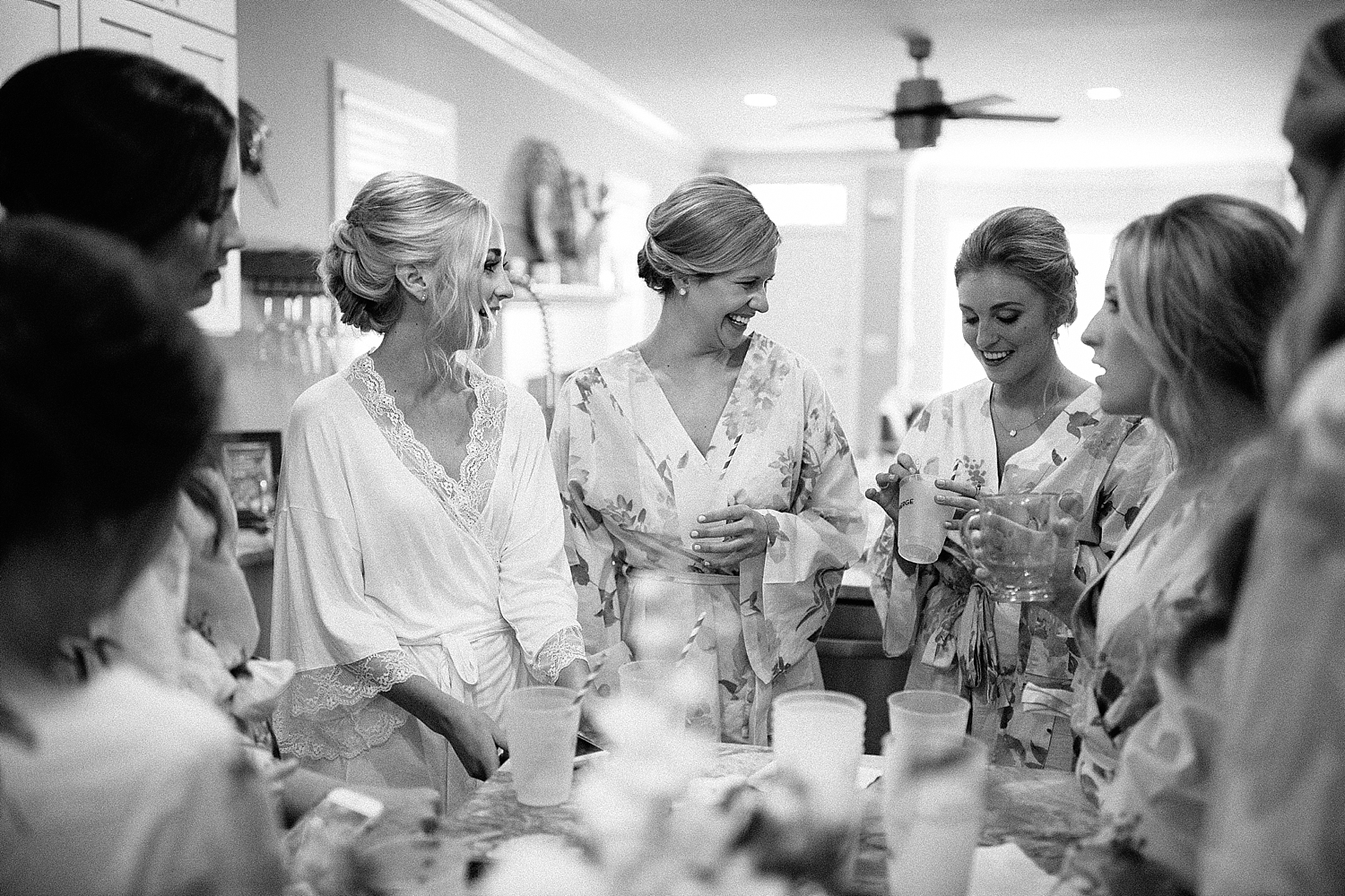 bride and bridesmaids drinking coffee together