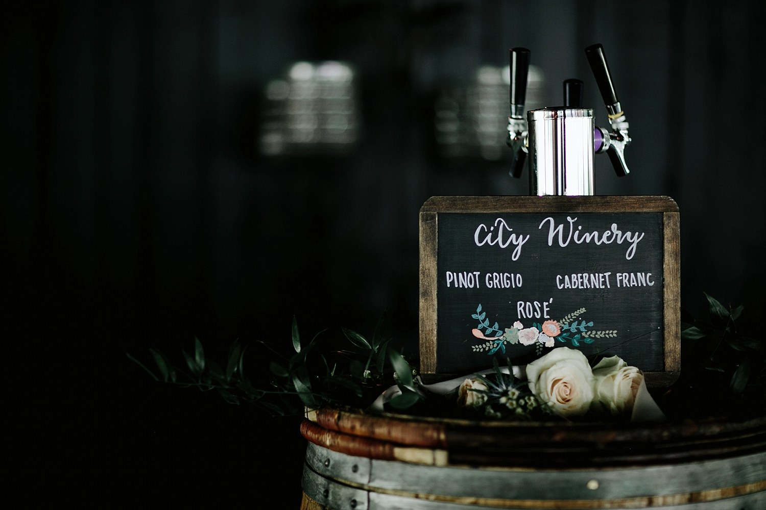 city winery floral chalkboard