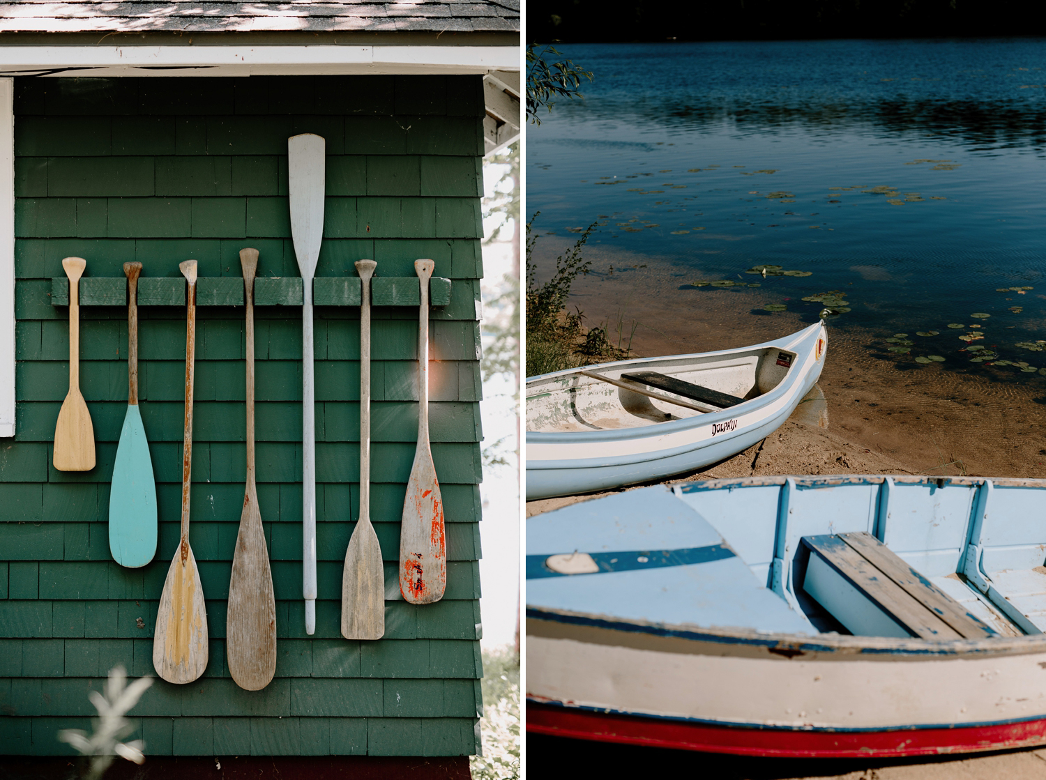 camp boats and wooden paddles