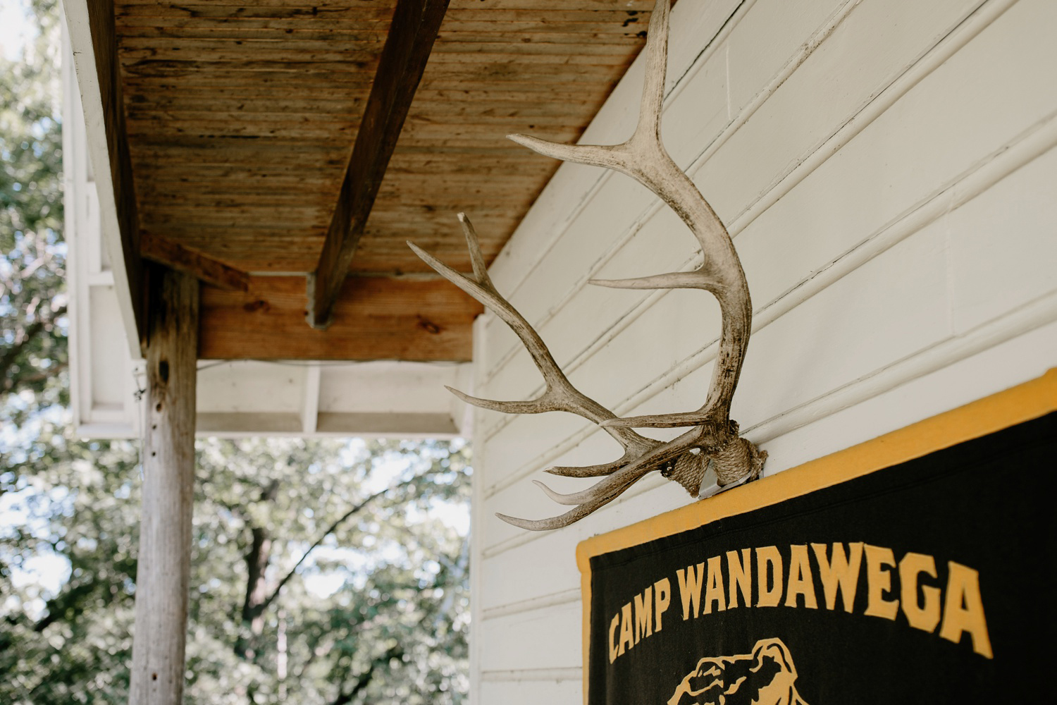 camp wandawega flag and mounted antlers