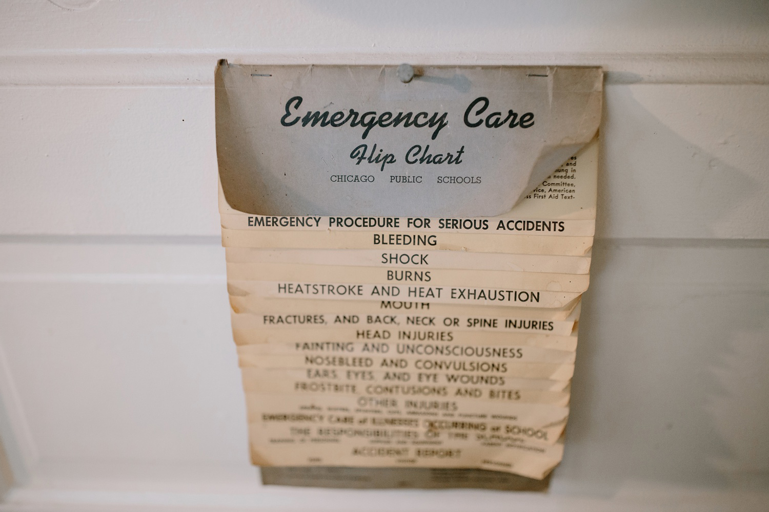 vintage emergency care flip chart