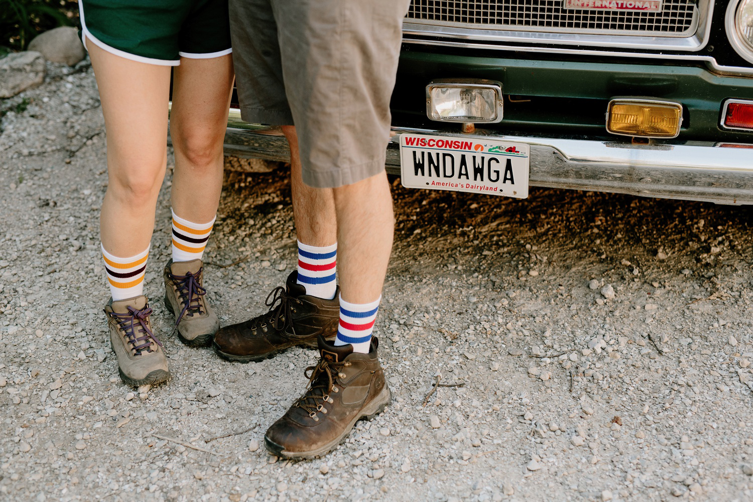 camp themed wedding guests with camp truck