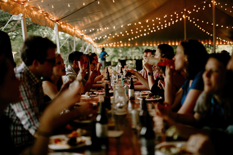 long farmhouse style wedding dinner