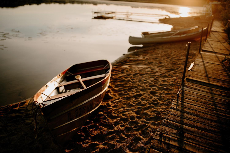 vintage camp boat at sunset