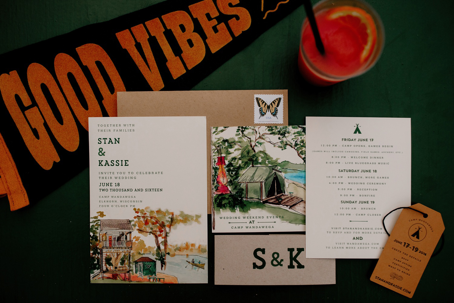 camp themed wedding invitation with good vibes banner