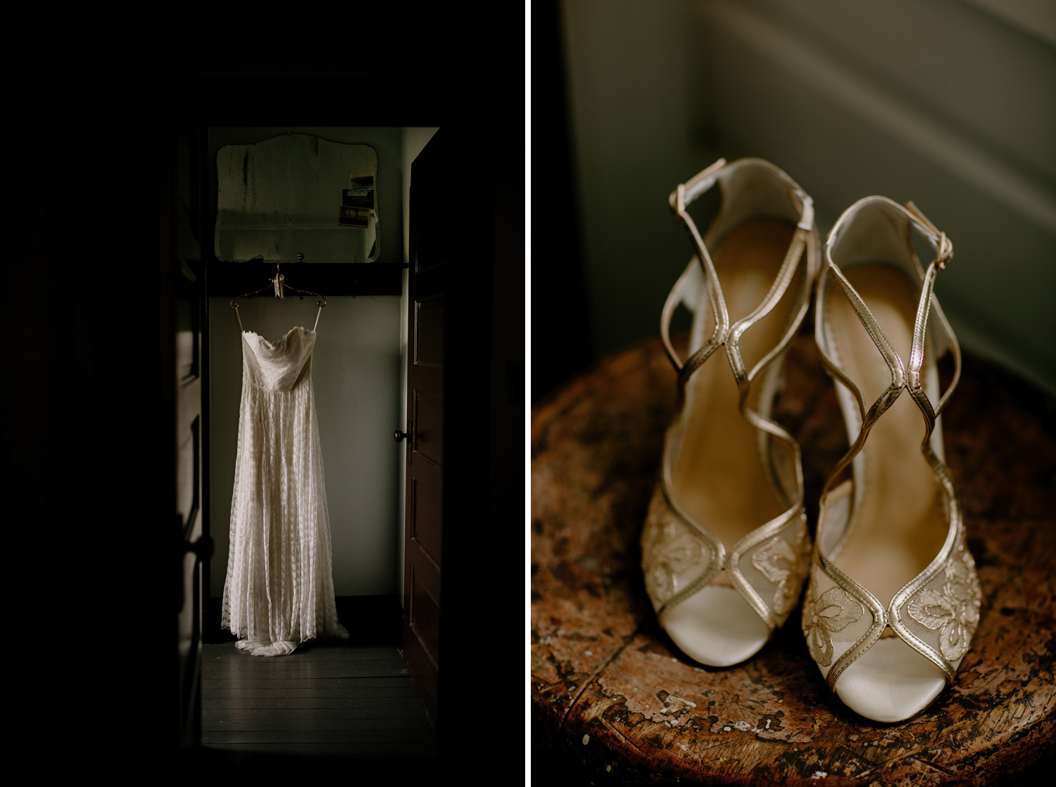 willowby wedding dress with gold lace heels