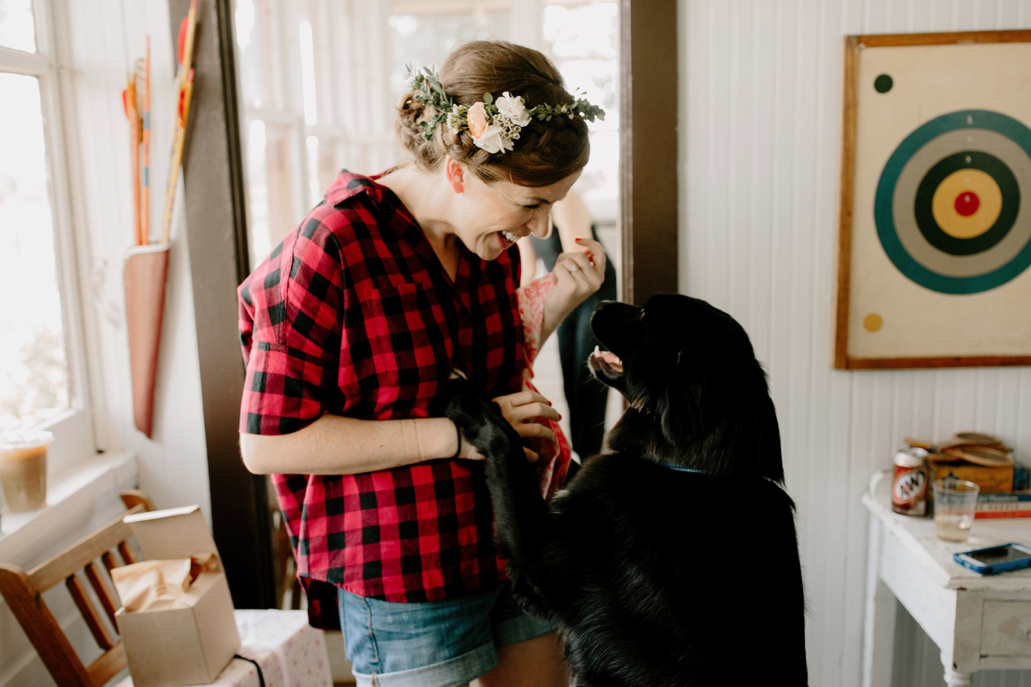 bride getting ready with dog