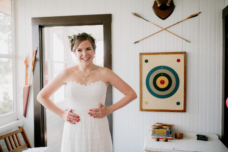 bride in willowby wedding dress at camp wandawega