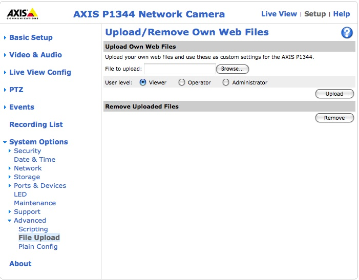Axis default 'viewing' web page - IP/Megapixel Cameras and Software