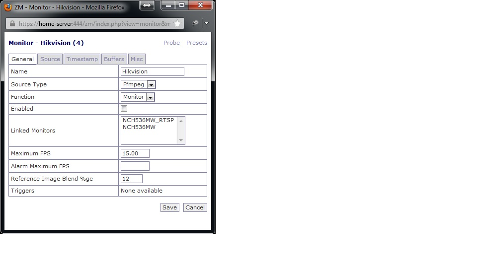 Zoneminder settings for HikVision 3MP IP Cam DS-2CD2032-I