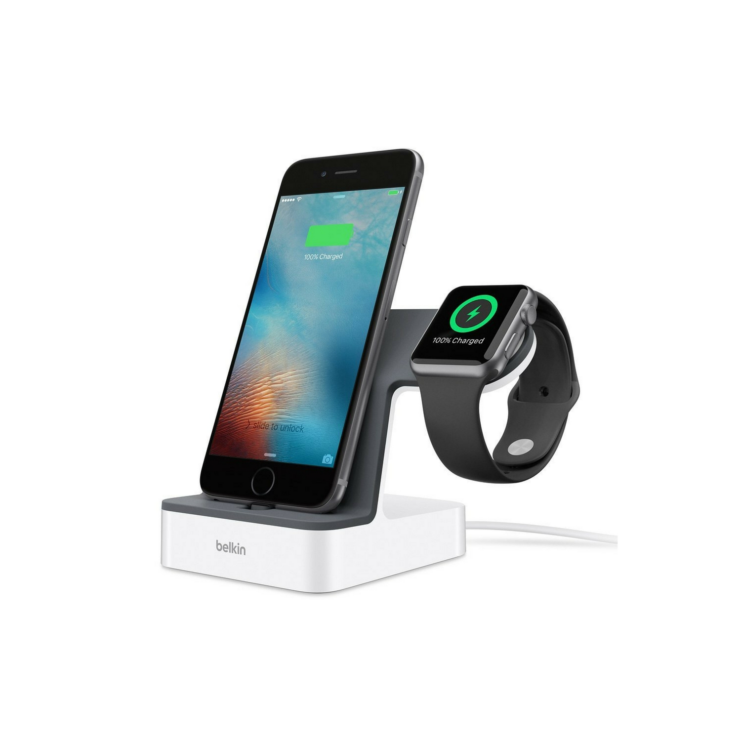 Belkin Valet Charge Dock For Apple Watch/Iphone,Plstc,Wht - White