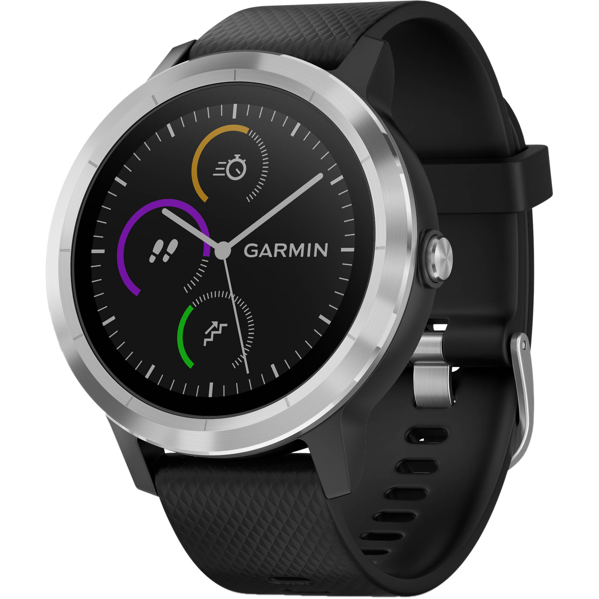 Garmin Vívoactive 3 - Stainless Steel - Smart Watch With Band Black