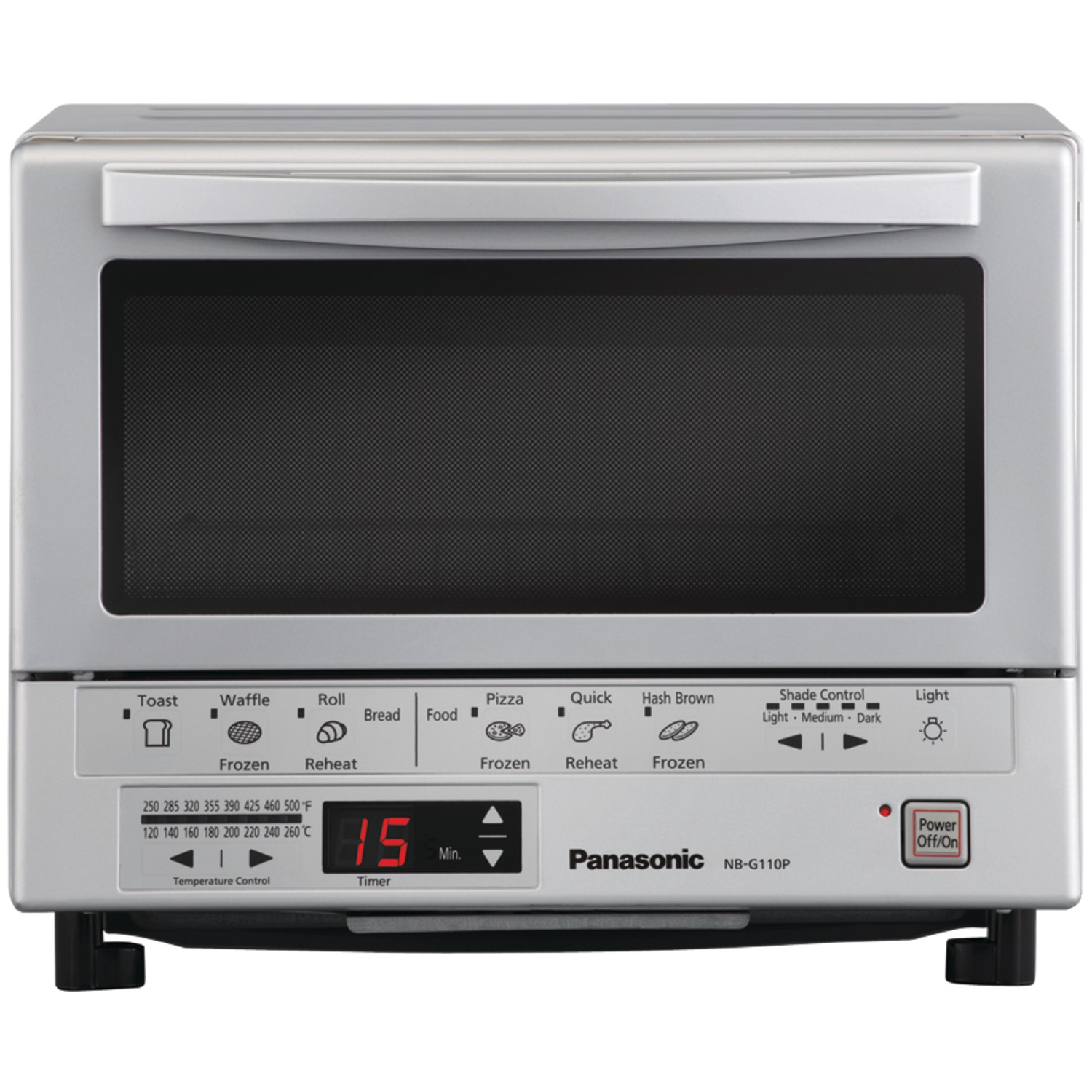Panasonic Flashxpress Toaster Oven With Double Infrared Heating, Silver, 1300W, 120V Ac, 60Hz