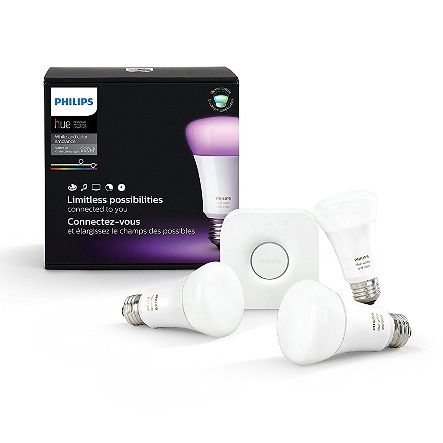 Image for Philips Hue White and color Starter kit - wireless lighting set - LED light bulb x 3 from Circuit City
