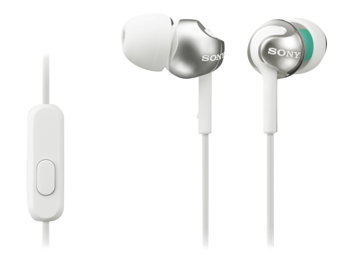 Image for Sony MDR-EX110AP/W - EX Series - earphones with mic - in-ear - wired - 3.5 mm jack - noise isolating - white from Circuit City
