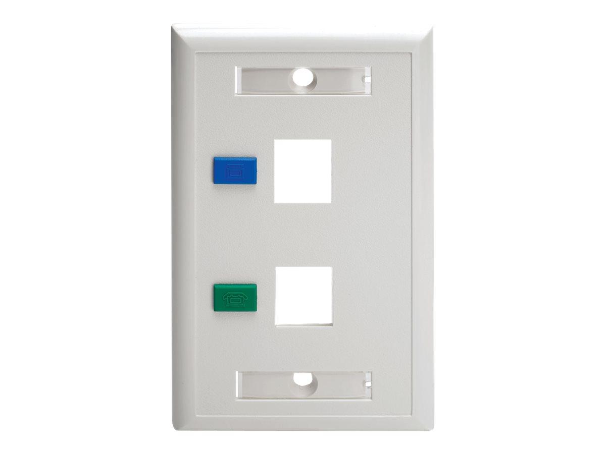Tripp Lite Dual Outlet Rj45 Universal Keystone Face Plate / Wall ...