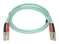 Startech Aqua OM4 Duplex Multimode Fiber Optic Cable - 100 Gb - 50/125 - LSZH - LC/LC - 1 m - network cable - 3.3 ft - aqua