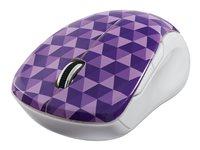 Verbatim Wireless Notebook Multi-Trac Blue Led Mouse - Mouse - 2.4 Ghz - Purple Diamond Pattern