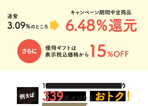 大丸松坂屋オンラインショッピング 通常3.09%のところ6.48%還元 さらに優待ギフトは表示税込価格から15%OFF 例えば10,000円ご購入の場合、通常より339ポイントもおトク!