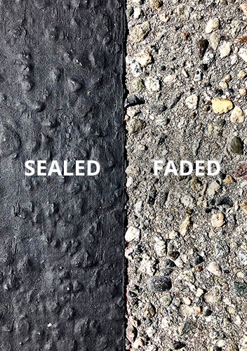 Sealed and protected asphalt before and after sealing