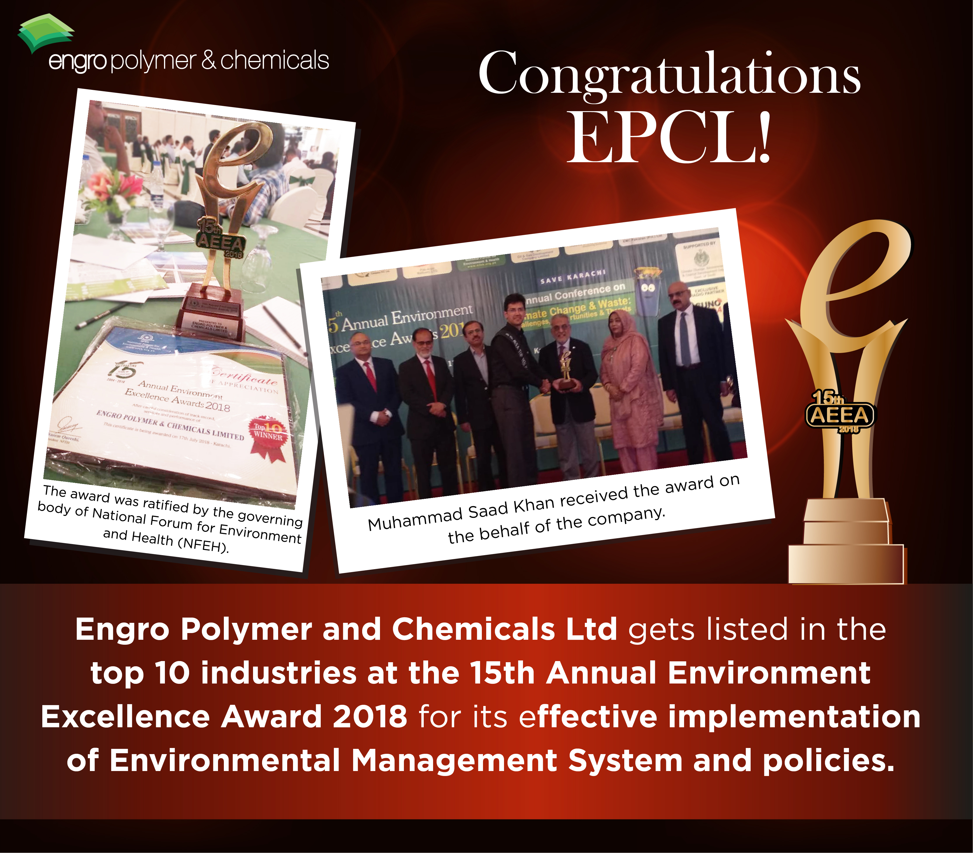 EPCL gets listed in the top 10 industries at the 15th Annual Environment Excellence Awards
