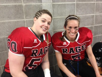 Former Xplosion teammates Murphy (left) and Holly Arthur before game time with the Calgary Rage (Image obtained from Facebook)
