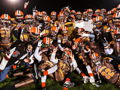 St. Francis Browns players celebrate their victory during the Alberta Bowl Provincial Final between the Calgary-based Tier I high-school club and the crosstown-rival Notre Dame Pride at Foote Field in Edmonton on Saturday. Photo by Codie McLachlan/Edmonton Sun