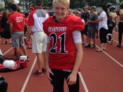 Liam in his Burlington Stampeders jersey. Courtesy of Liam Keary..