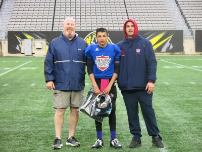 Cameron Park (#2) with James Southward (left) and Brad Park (right).