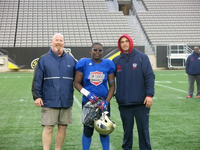 Nehemiah Forde-Bowen (#80) with James Southward (left) and Brad Park (right)