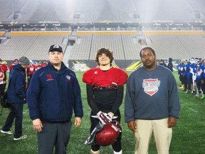Jacob Succar (#6) with Nicholas Lazar  (left) and Chivase Bryan (right).