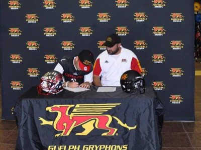 Alex Douglas singing his LOI. Courtesy of Alex Douglas.