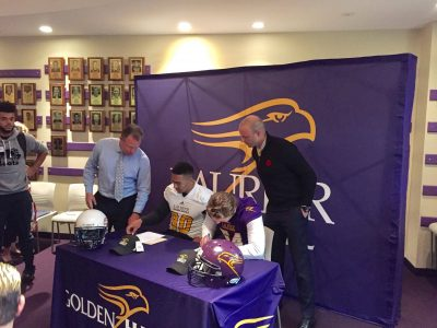 Damian Tesoro (left) and Mitch Rooney (right) signing their LOI. Courtesy of Damian Tesoro.