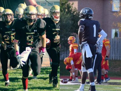 Aiden Mielczarek (left, #9, courtesy of Aiden Mielczarek) and Tevin Doyley (right, courtesy of Tevin Doyley).