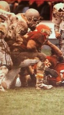 A muddied Peter Ohler (#45) playing with the Calgary Dinos. Courtesy of Matt Ohler.