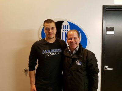 Olivier Paquet-Brisson and Carabins' Head Coach Danny Maciocia. Courtesy of Olivier Paquet-Brisson.