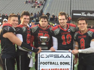 Bryce Covello (second from the right) and his teammates celebrate their OFSAA win. Courtesy of Bryce Covello .