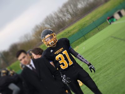 Joey Corcoran in football gear before a game