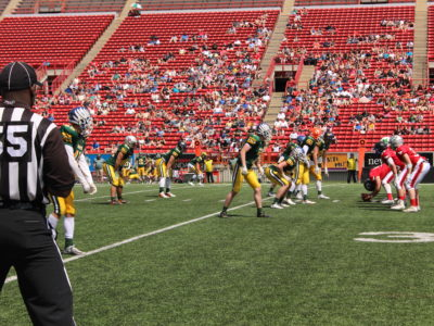 Team North in pursuit of endzone