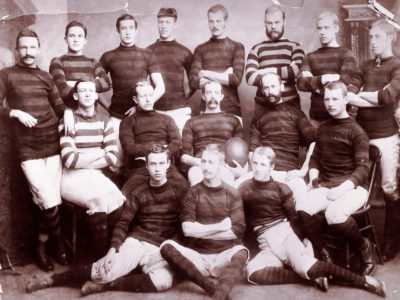 One of the oldest known photos of the Hamilton Tigers, photo is cited as 1886
