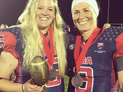 Grisafe (left) and Jeannette Gray with the IFAF Women's World Championship Trophy (Image obtained from: https://www.instagram.com/p/BX_lYYwHsJB/)