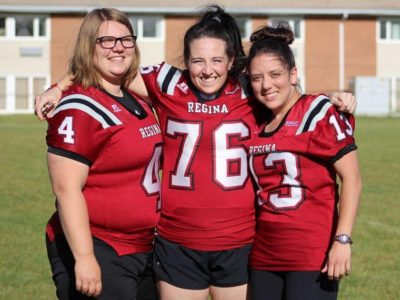 Amery Deren, Aly Bell and Karlie Jackson, all Valkyries alums that captured a 2017 WWCFL title with the Regina Riot (Credit: Roshelle Montgomery)