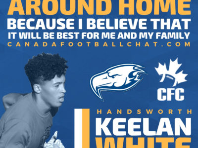 CFC100 Keelan White staying home for university