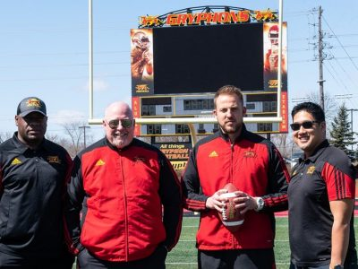 Left-to-right: Donnavan Carter (special teams), Dennis McPhee (defensive coordinator), Ryan Sheahan (head coach), Mark Surya (offensive coordinator)
