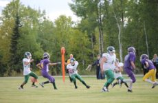 Ball Carrier SMVS #94 Jonah McKenzie being pursued by  La Loche #4 Diontae Herman